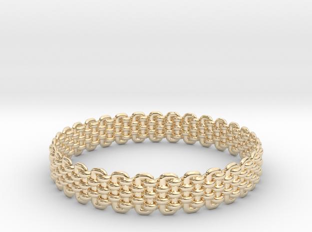 Wicker Pattern Bracelet Size 4 in 14k Gold Plated Brass