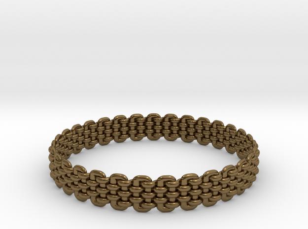 Wicker Pattern Bracelet Size 7 or USA Small Size in Polished Bronze