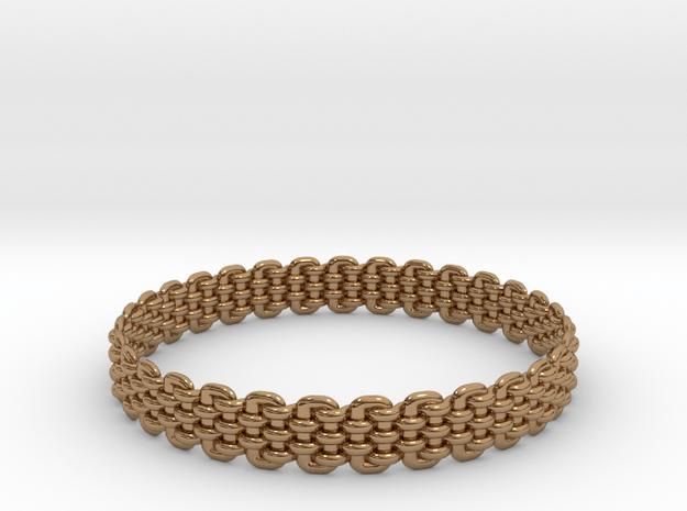 Wicker Pattern Bracelet Size 8 or USA Medium Size in Polished Brass