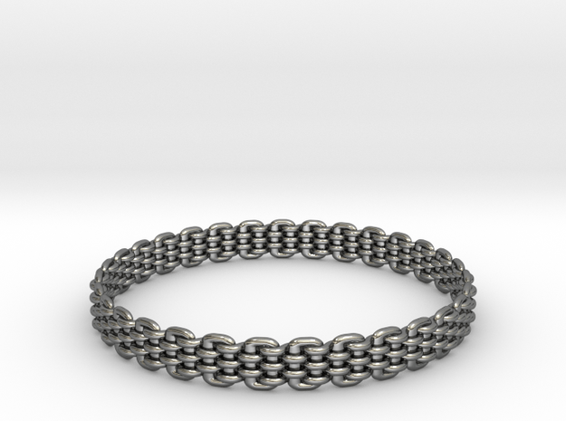 Wicker Pattern Bracelet Size 14 in Fine Detail Polished Silver