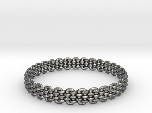 Wicker Pattern Bracelet Size 10 or USA Large Size in Fine Detail Polished Silver