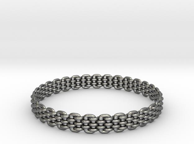 Wicker Pattern Bracelet Size 12 in Fine Detail Polished Silver