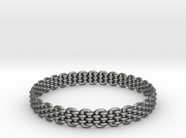 Wicker Pattern Bracelet Size 11 in Fine Detail Polished Silver