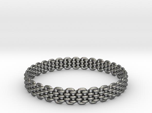 Wicker Pattern Bracelet Size 9 in Fine Detail Polished Silver