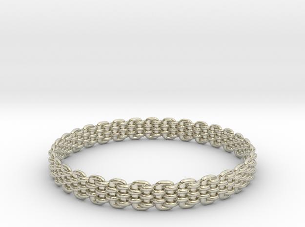 Wicker Pattern Bracelet Size 13 or USA X-Large in 14k White Gold
