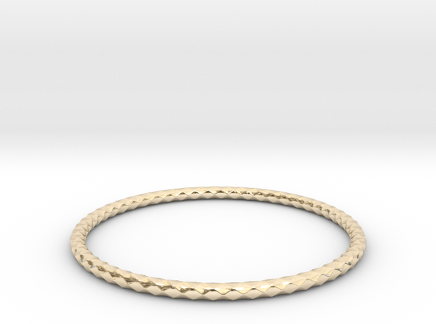 Diamond Pattern Bracelet USA Size X-Large in 14K Yellow Gold