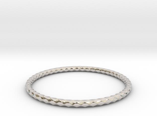 Diamond Pattern Bracelet USA Size Medium in Rhodium Plated Brass