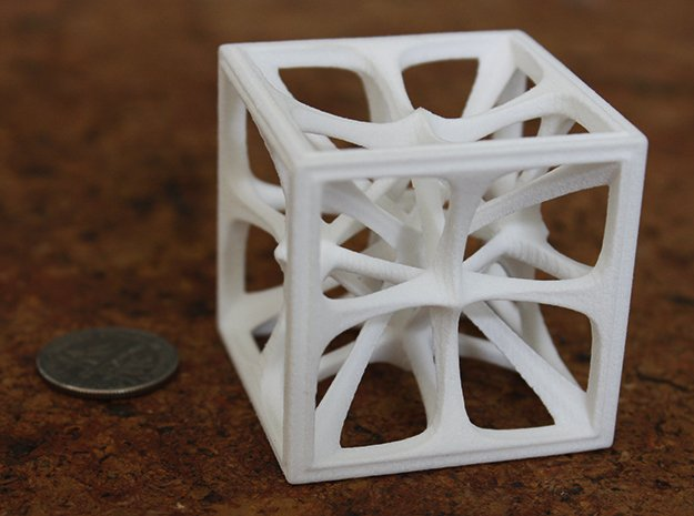 Hexahedron in White Processed Versatile Plastic: Medium