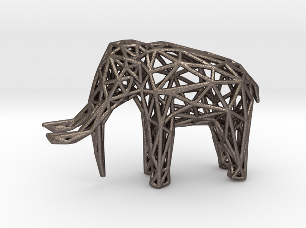 Elephant Wireframe 50mm in Polished Bronzed Silver Steel