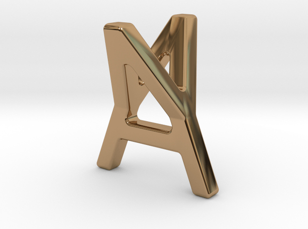AY YA - Two way letter pendant in Polished Brass