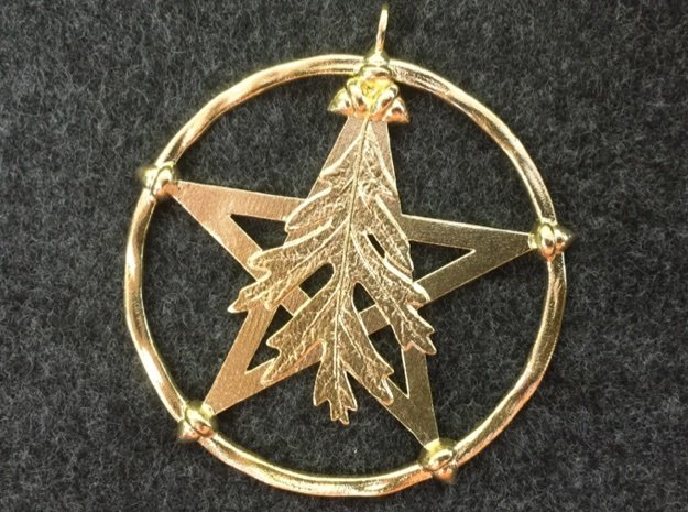 Oak Leaf Pentacle Pendant in Natural Brass