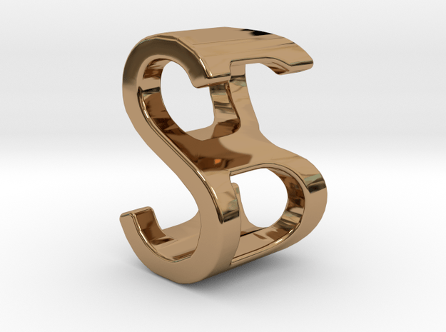 Two way letter pendant - BS SB in Polished Brass