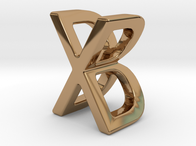Two way letter pendant - BX XB in Polished Brass