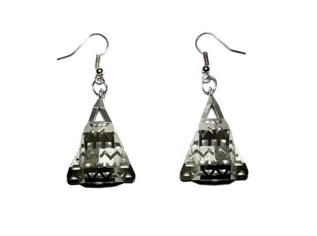 Aztec Earrings in Natural Silver