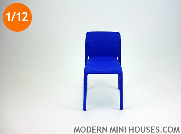 First Modern Dining Chair 1:12 scale in Blue Processed Versatile Plastic