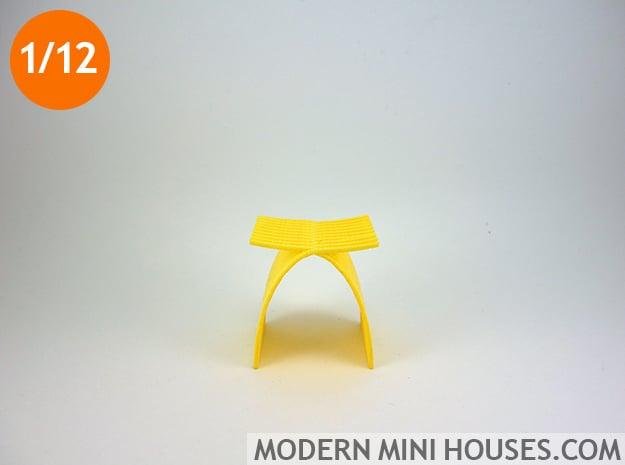 1:12 scale Capelli Stool in Yellow Processed Versatile Plastic
