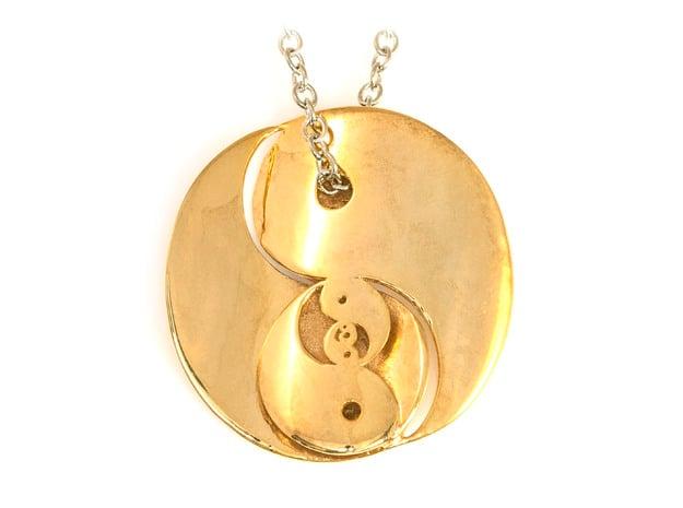 Yin Yang Fractal Pendant in 18k Gold Plated Brass