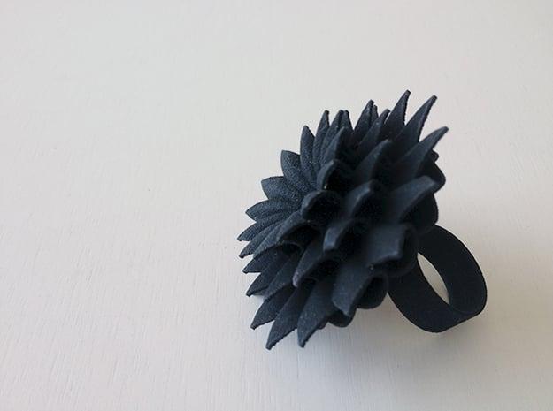 Big Bloom Ring Size 7 in Black Natural Versatile Plastic