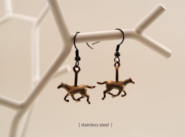 Horse (without Jockey) Earrings in Polished Nickel Steel