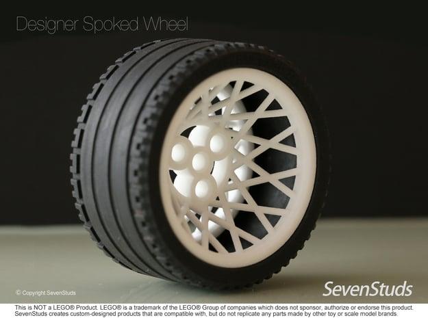 Designer Spoked Wheel 56mm in White Natural Versatile Plastic