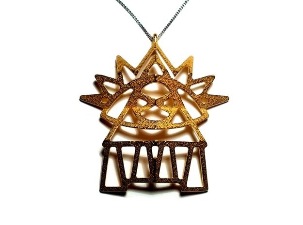 Universal Eye Pendant in Polished Gold Steel