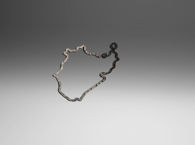 Nurburgring-Nordschleife | Keychain in Polished Bronzed Silver Steel