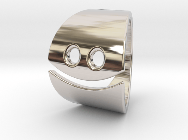 Smiley Ring in Rhodium Plated Brass