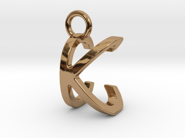Two way letter pendant - CK KC in Polished Brass