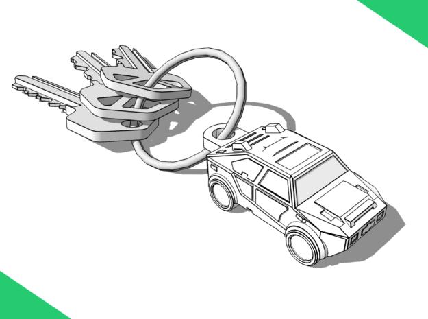 Car Keychain (Customizable!) in White Natural Versatile Plastic