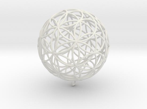 Pendant 35mm Flower Of Life in White Natural Versatile Plastic