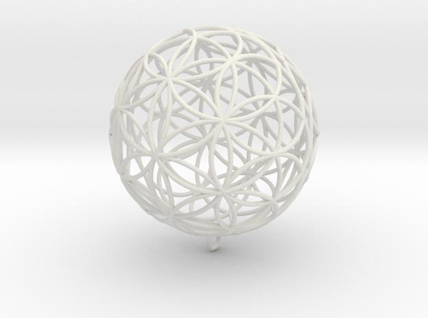Pendant 55mm Flower Of Life in White Natural Versatile Plastic