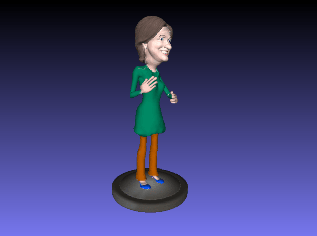 Hillary Clinton Cartoon Look  in Blue Processed Versatile Plastic