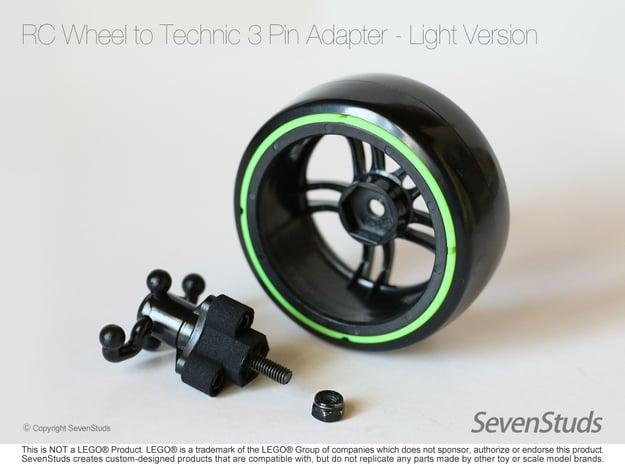 RC Wheel to Technic 3 Pin Adapter - Light in Black Natural Versatile Plastic