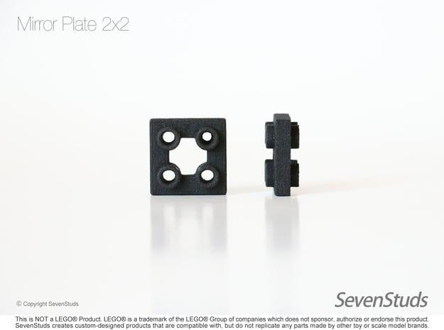 Mirror Plate 2x2 in Black Natural Versatile Plastic