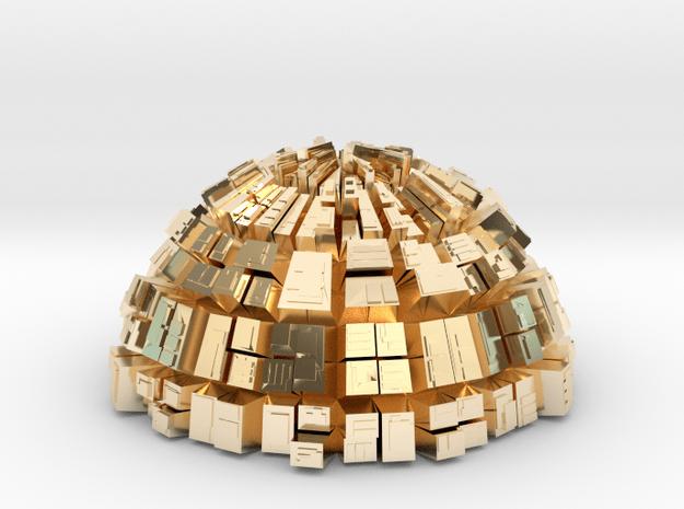 Semi-Ghost Sphere (semi sphere ghost town) in 14K Yellow Gold
