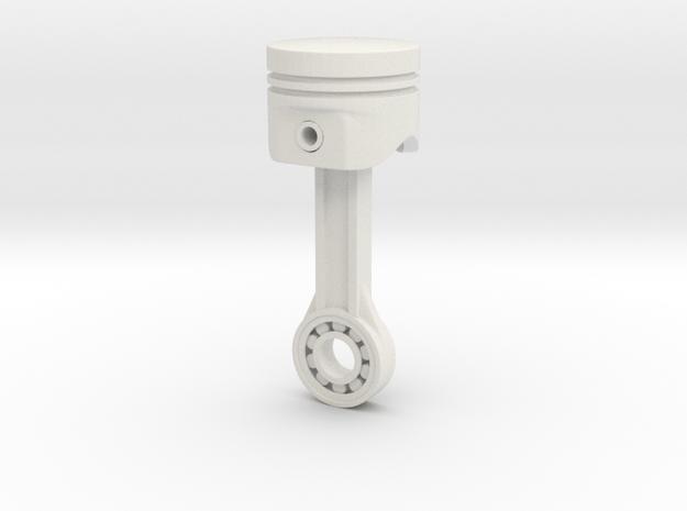 Piston Keychain 4cm in White Natural Versatile Plastic
