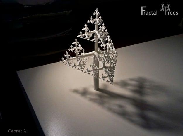Sierpinski Tetrahedron Fractal Tree in White Natural Versatile Plastic