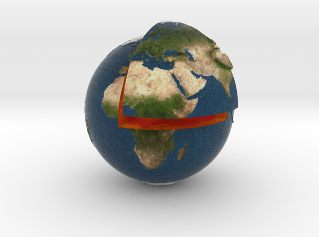 Planet earth sectioned quarter in Full Color Sandstone