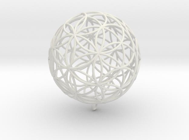 Pendant 100mm Flower Of Life in White Natural Versatile Plastic