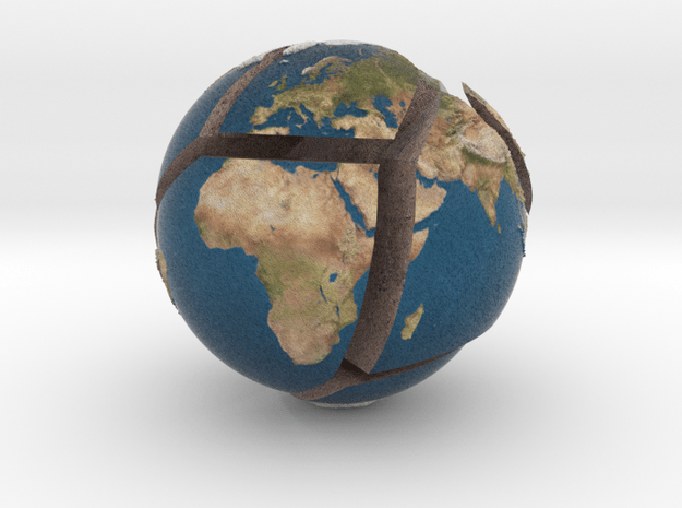 Relief planet Earth puzzle in Full Color Sandstone