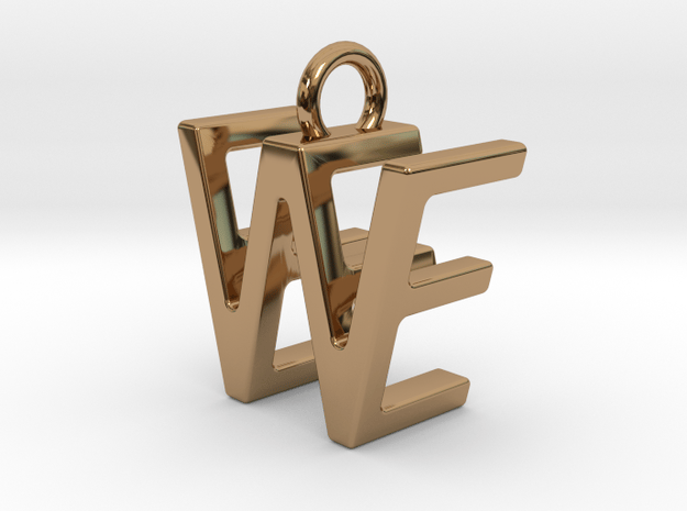 Two way letter pendant - EW WE in Polished Brass