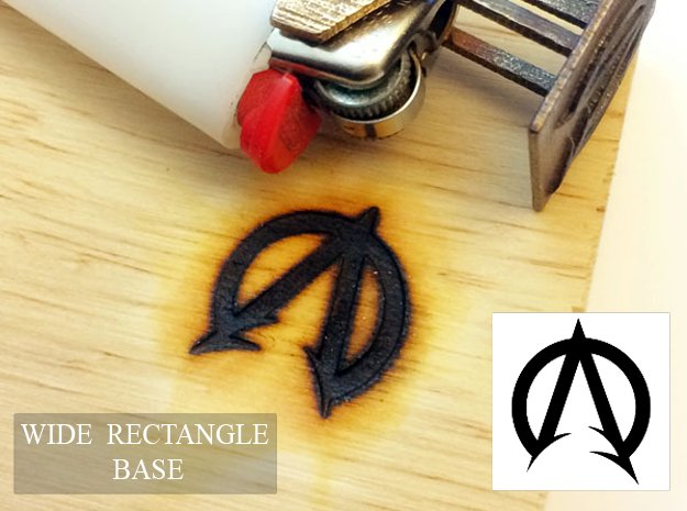 """Bic Lighter Branding Iron - 1 1/4"""" X 3/4"""" in Polished Bronzed Silver Steel"""