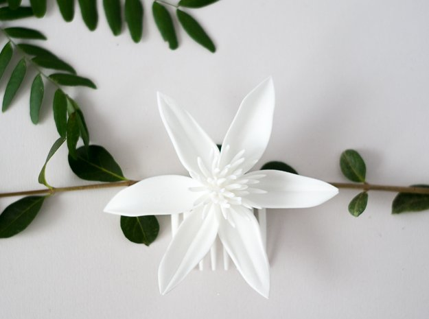 Tropical Flower Comb in White Natural Versatile Plastic