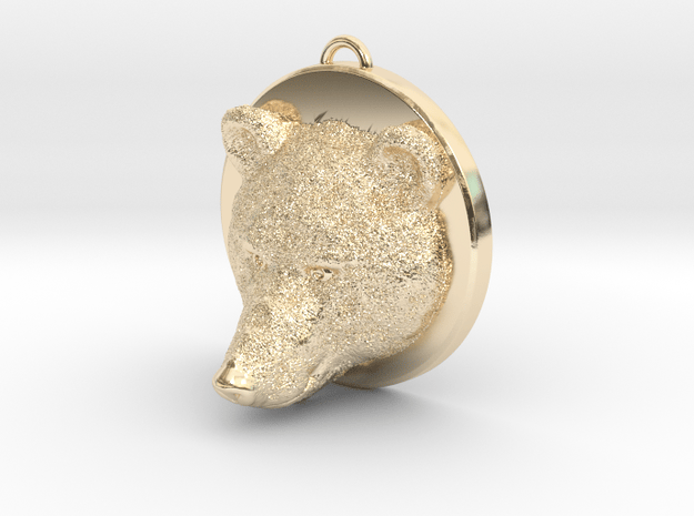 Bear Face Necklace in 14K Yellow Gold