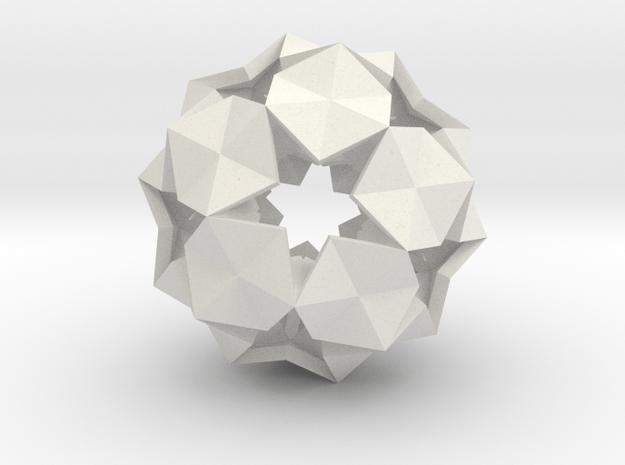 20 Hexagons Ball - 2.8 cm in White Natural Versatile Plastic
