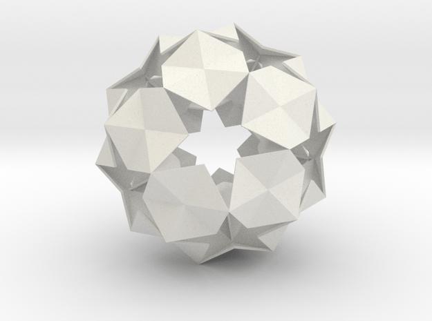 20 Hexagons Ball - 11.2 cm in White Natural Versatile Plastic