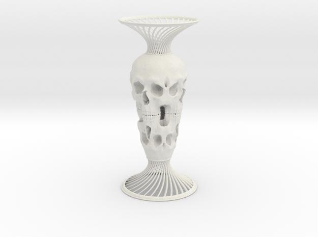 Skull Vase in White Natural Versatile Plastic