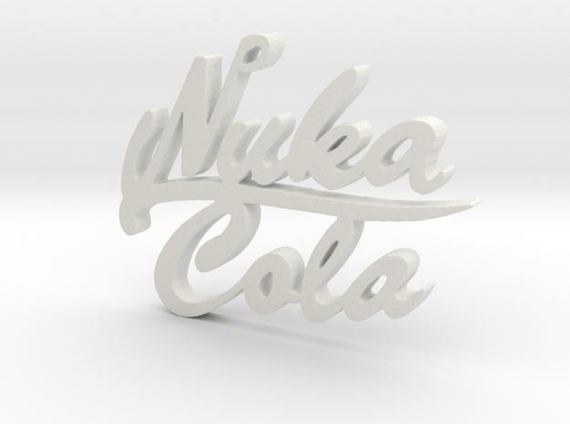 Nuka Cola Text Pendant in White Natural Versatile Plastic