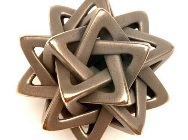 Five Tetrahedra, large in White Natural Versatile Plastic