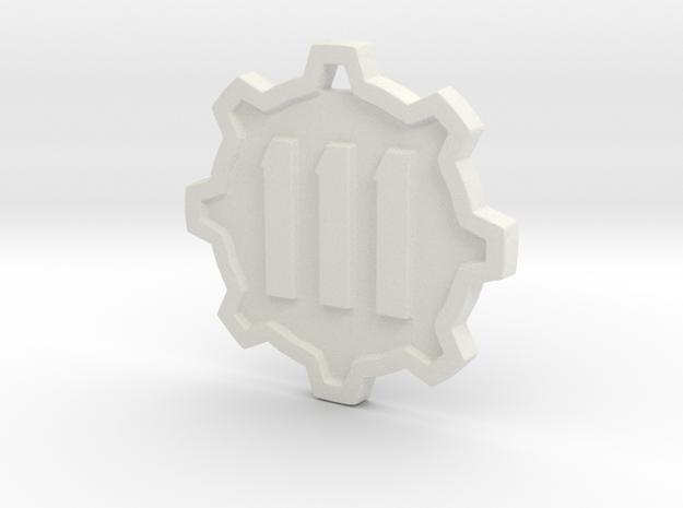 Vault 111 Pendant in White Natural Versatile Plastic